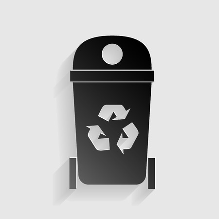 trashing: Trashcan sign illustration. Black paper with shadow on gray background.