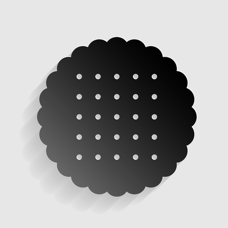scone: Pyramid sign illustration. Black paper with shadow on gray background. Illustration