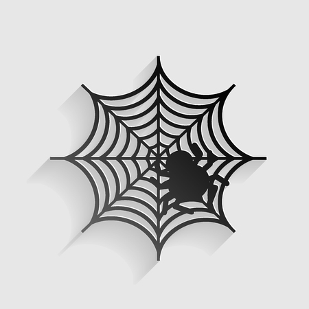 Spider on web illustration Black paper with shadow on gray background.