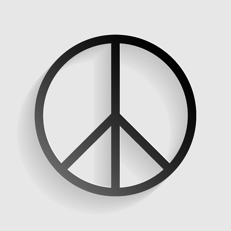 pacificist: Peace sign illustration. Black paper with shadow on gray background. Illustration