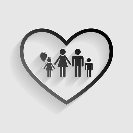 siloette: Family sign illustration in heart shape. Black paper with shadow on gray background. Illustration