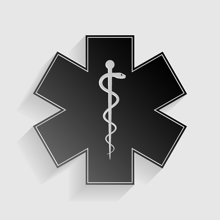 star of life: Medical symbol of the Emergency - Star of Life. Black paper with shadow on gray background. Illustration