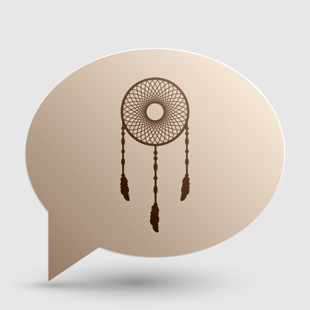 swelled: Dream catcher sign. Brown gradient icon on bubble with shadow.