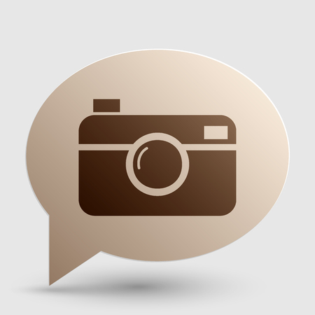 whim of fashion: Digital photo camera sign. Brown gradient icon on bubble with shadow.