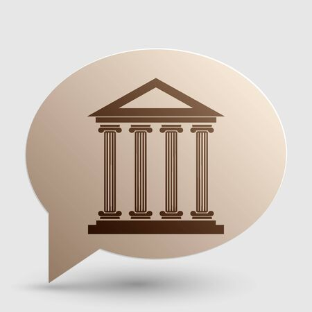 derecho romano: Historical building illustration. Brown gradient icon on bubble with shadow. Vectores