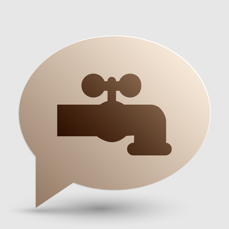 water faucet: Water faucet sign illustration. Brown gradient icon on bubble with shadow.