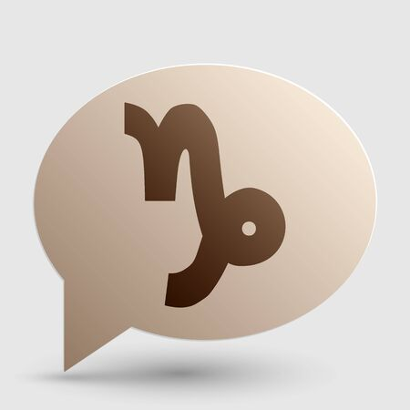 ecliptic: Capricorn sign illustration. Brown gradient icon on bubble with shadow.