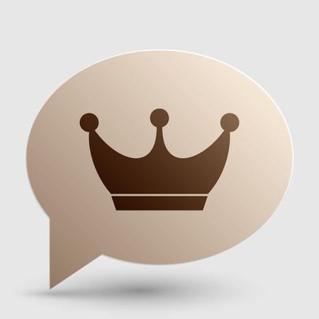 King crown sign. Brown gradient icon on bubble with shadow. Illustration