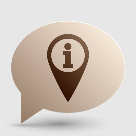needle tip: Map pointer with information sign. Brown gradient icon on bubble with shadow.