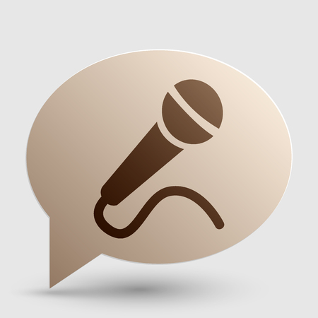 amplify: Microphone sign illustration. Brown gradient icon on bubble with shadow. Illustration