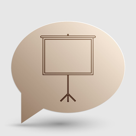 projection screen: Blank Projection screen. Brown gradient icon on bubble with shadow.
