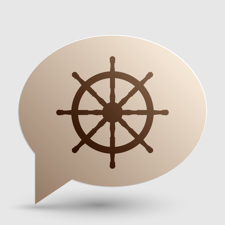 Ship wheel sign. Brown gradient icon on bubble with shadow.