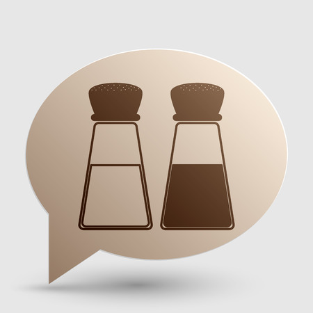 Salt and pepper sign. Brown gradient icon on bubble with shadow.