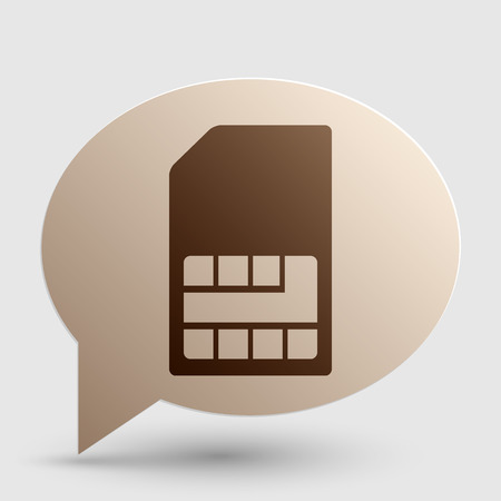 sim card: Sim card sign. Brown gradient icon on bubble with shadow.