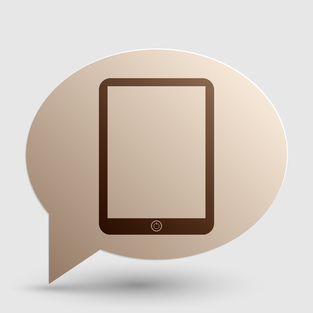 sensitive: Computer tablet sign. Brown gradient icon on bubble with shadow.