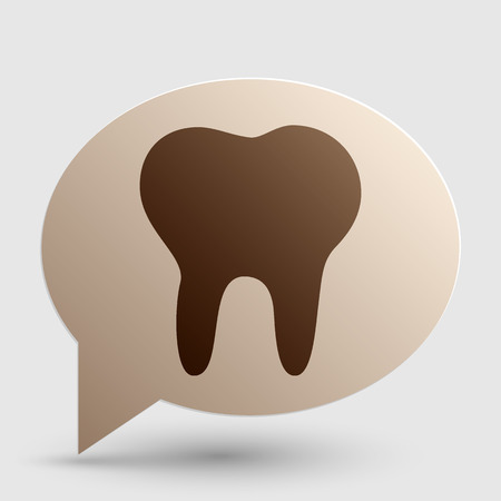 Tooth sign illustration. Brown gradient icon on bubble with shadow.