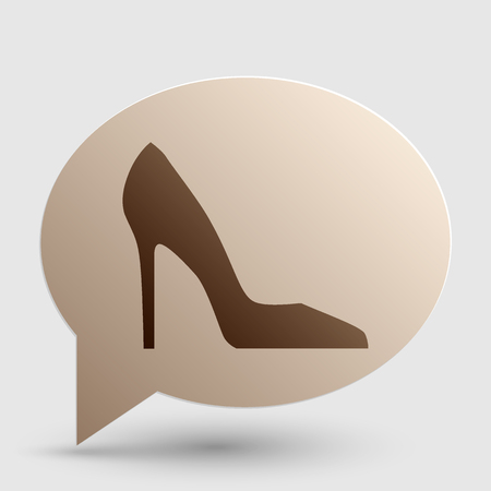 woman shadow: Woman shoe sign. Brown gradient icon on bubble with shadow.