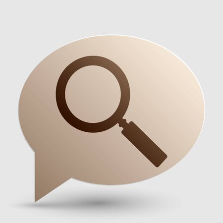 Zoom sign illustration. Brown gradient icon on bubble with shadow. Illustration