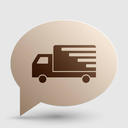 removal van: Delivery sign illustration. Brown gradient icon on bubble with shadow.