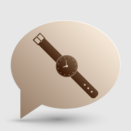 seconds: Watch sign illustration. Brown gradient icon on bubble with shadow. Illustration