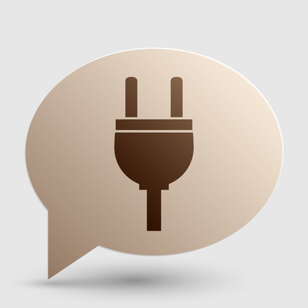 ac: Socket sign illustration. Brown gradient icon on bubble with shadow.