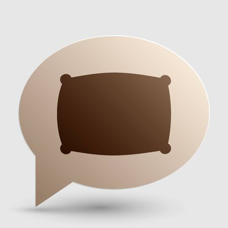 cushioned: Pillow sign illustration. Brown gradient icon on bubble with shadow. Illustration