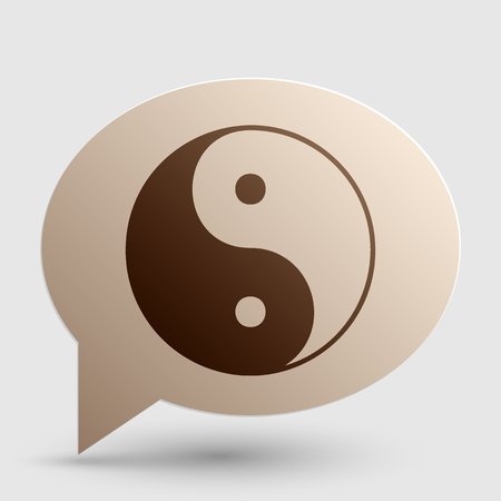 taoism: Ying yang symbol of harmony and balance. Brown gradient icon on bubble with shadow. Stock Photo