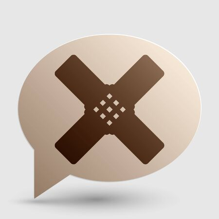 Aid sticker sign. Brown gradient icon on bubble with shadow.