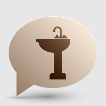 Bathroom sink sign. Brown gradient icon on bubble with shadow.