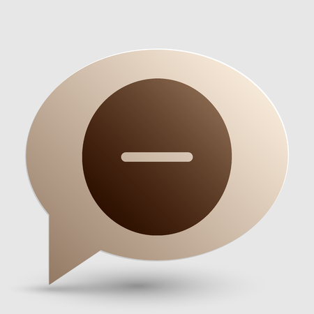 minus sign: Negative symbol illustration. Minus sign. Brown gradient icon on bubble with shadow.