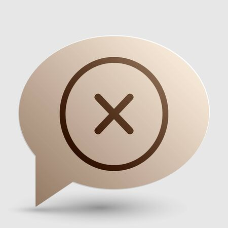 voted: Cross sign illustration. Brown gradient icon on bubble with shadow.