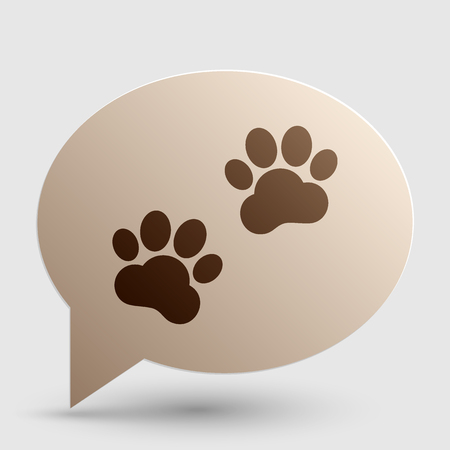 animal tracks: Animal Tracks sign. Brown gradient icon on bubble with shadow.
