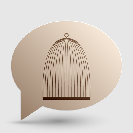 Bird cage sign. Brown gradient icon on bubble with shadow.