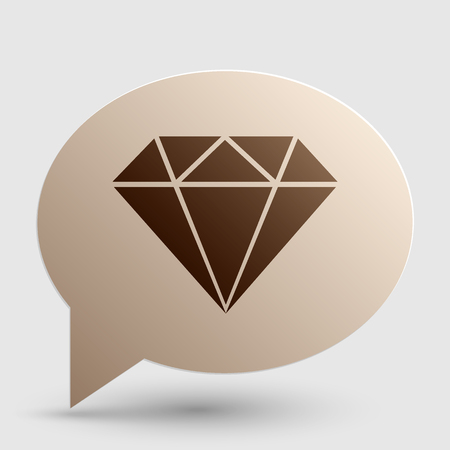 spoil: Diamond sign illustration. Brown gradient icon on bubble with shadow.