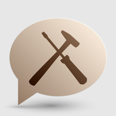 Tools sign illustration. Brown gradient icon on bubble with shadow. Illustration