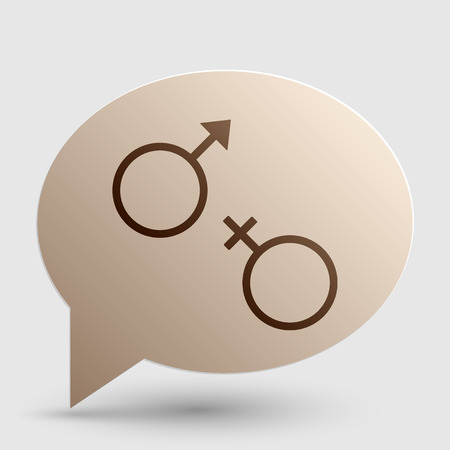 female and male symbol sign. Brown gradient icon on bubble with shadow.