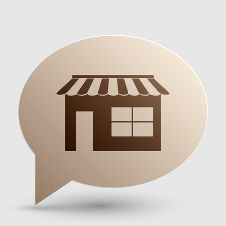 outdoor goods: Store sign illustration. Brown gradient icon on bubble with shadow. Illustration