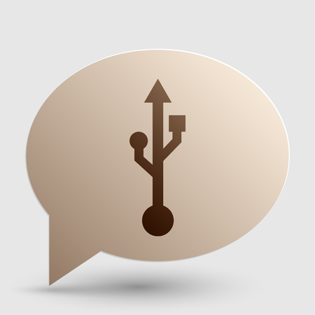 storage compartment: USB sign illustration. Brown gradient icon on bubble with shadow.