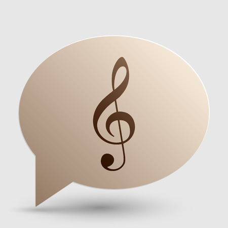 Music violin clef sign. G-clef. Treble clef. Brown gradient icon on bubble with shadow. Vectores