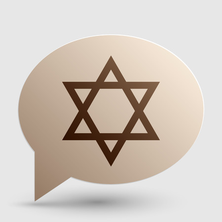 magen david: Shield Magen David Star. Symbol of Israel. Brown gradient icon on bubble with shadow.