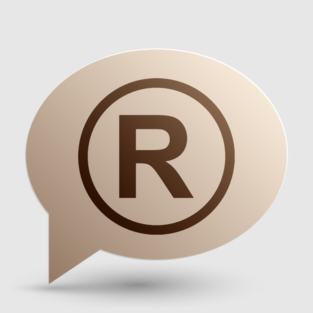 limitation: Registered Trademark sign. Brown gradient icon on bubble with shadow.
