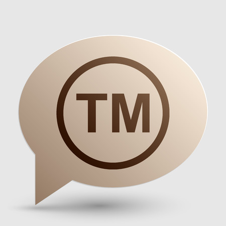 warrant: Trade mark sign. Brown gradient icon on bubble with shadow.