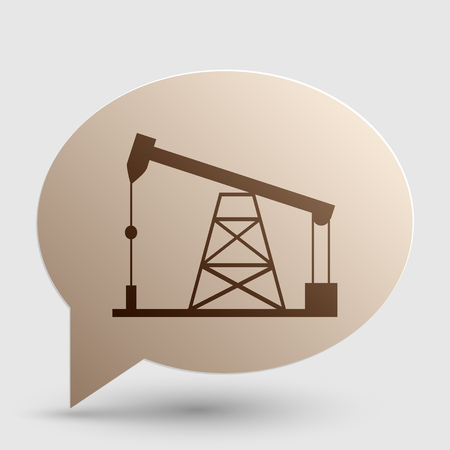 drilling rig: Oil drilling rig sign. Brown gradient icon on bubble with shadow. Illustration