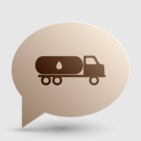 Car transports Oil sign. Brown gradient icon on bubble with shadow.