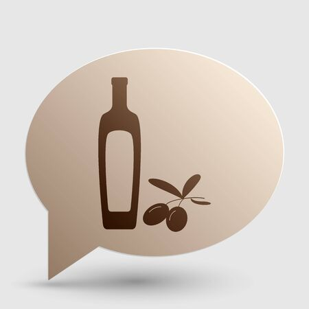 Black olives branch with olive oil bottle sign. Brown gradient icon on bubble with shadow.