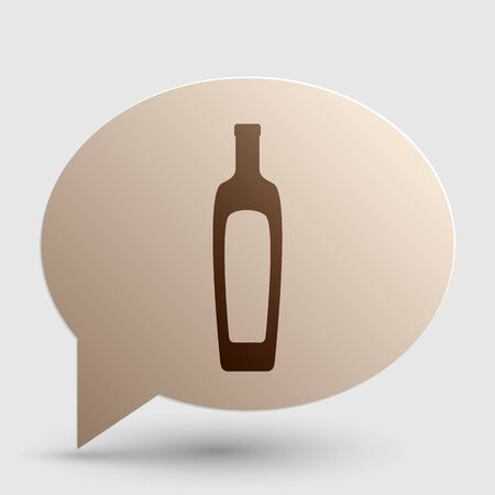 salad dressing: Olive oil bottle sign. Brown gradient icon on bubble with shadow. Illustration