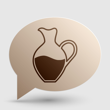 amphora: Amphora sign. Brown gradient icon on bubble with shadow. Illustration