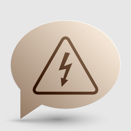 volte: High voltage danger sign. Brown gradient icon on bubble with shadow.