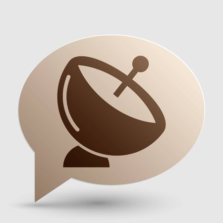 Satellite dish sign. Brown gradient icon on bubble with shadow. Illustration