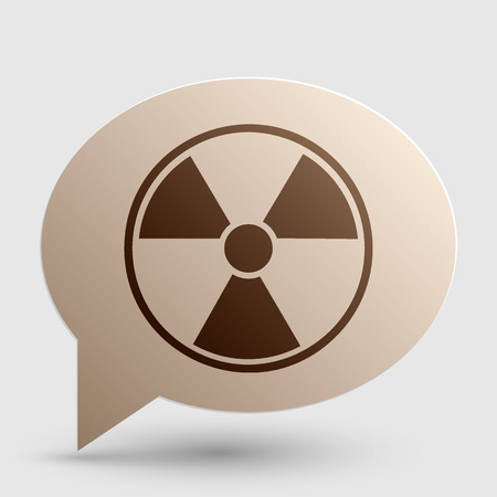 radiological: Radiation Round sign. Brown gradient icon on bubble with shadow.